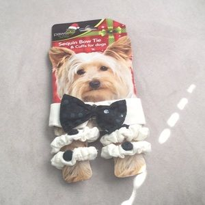 Sequin Bow Tie and Cuff for Dogs